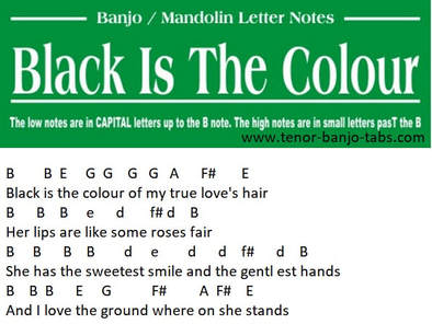 Black is the colour banjo letter notes