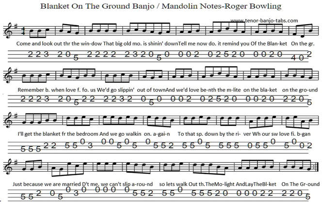 Blanket On The Ground Sheet music for tenor banjo key of G Major