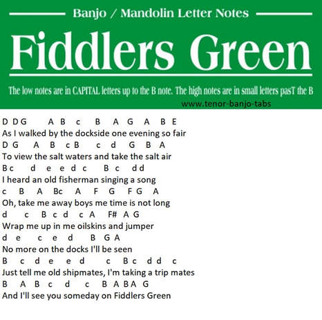 Fiddlers Green letter notes for mandolin and banjo