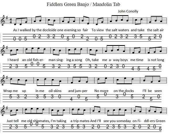 Fiddlers Green Banjo Mandolin Tab