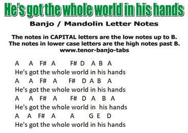 He's got the whole world in his hands banjo letter notes