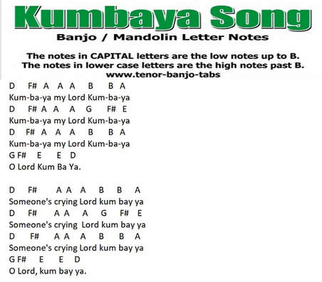 Kumbaya banjo / mandolin letter notes