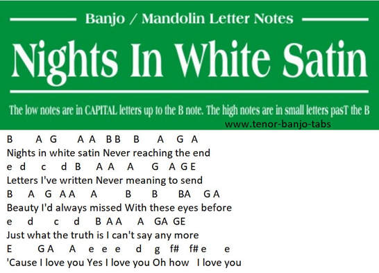 Nights in white satin banjo letter notes