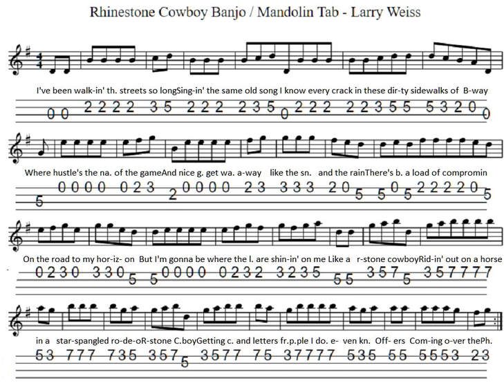 Rhinestone Cowboy sheet music for mandolin / banjo