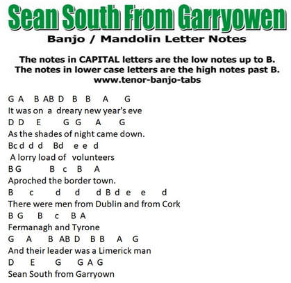 Sean South from Garryowen banjo letter notes