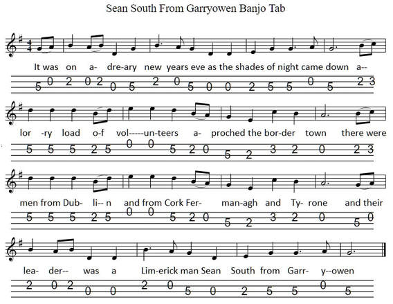Sean Sounth from Garryowen banjo / mandolin tab