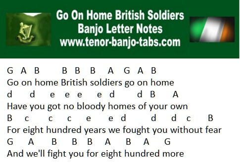 Go on home british soldiers banjo / mandolin letter notes