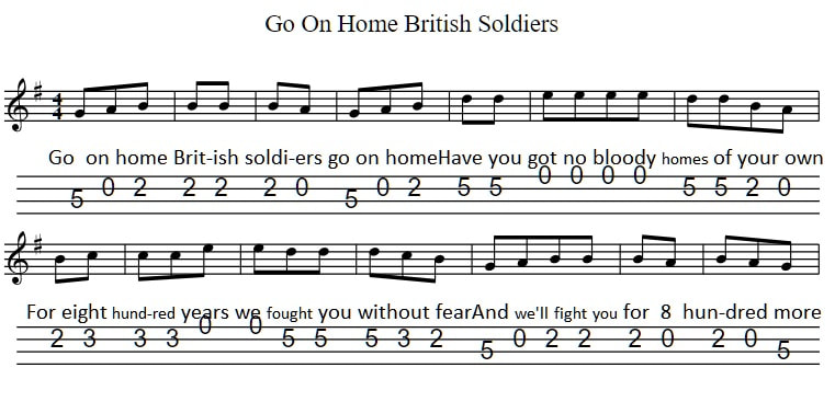 Go on home british soldiers banjo tab