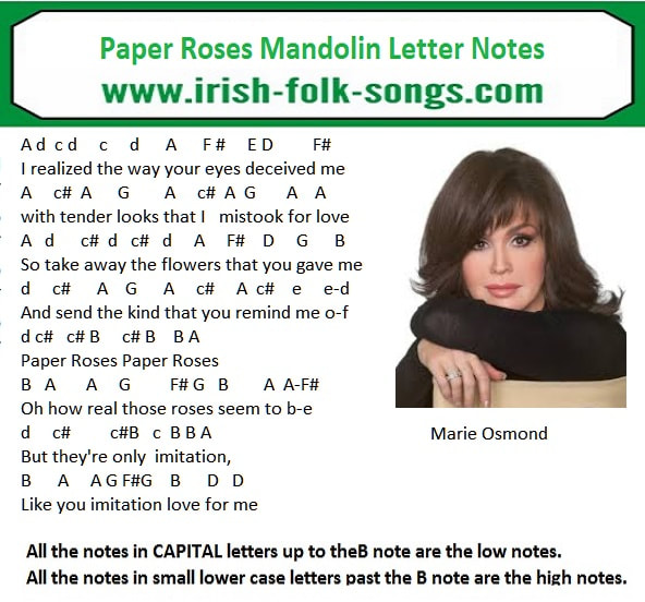 Paper Roses Mandolin Letter Notes For Beginners