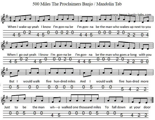 500 Miles The Proclaimers Mandolin -Banjo Tab - Tenor Banjo Tabs
