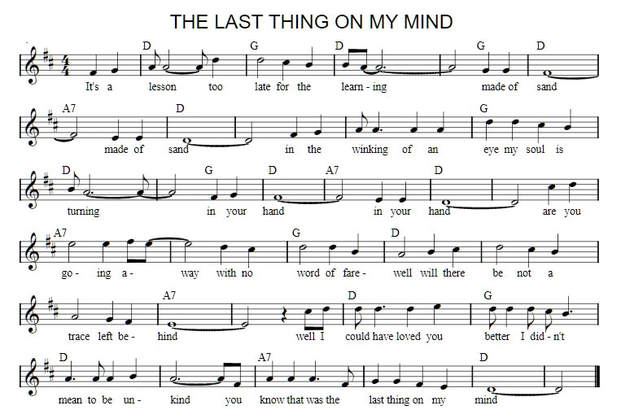 The last thing on my mind sheet music key of D