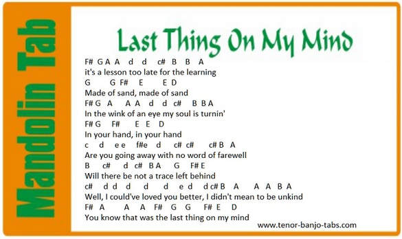 Last thing on my mind mandolin letter notes