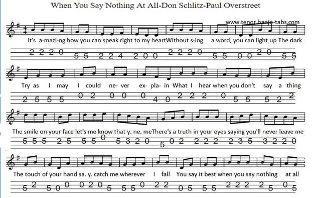 When You Say Nothing At All Sheet Music For Mandolin And Banjo