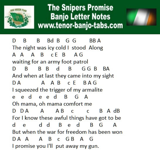 The Sniper's Promise easy banjo letter notes