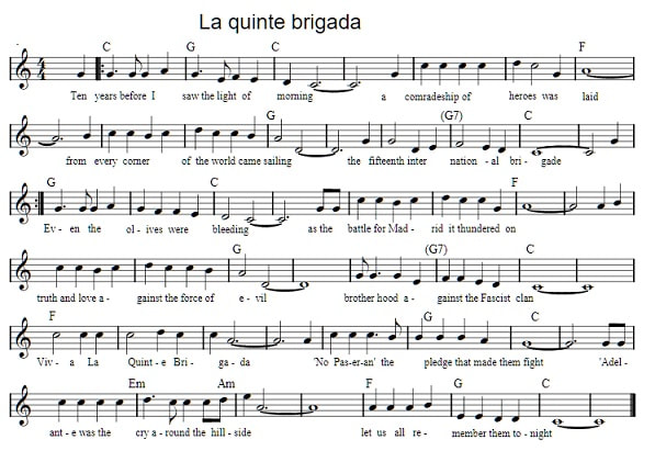 Viva la quinta brigade sheet music by Christy Moore