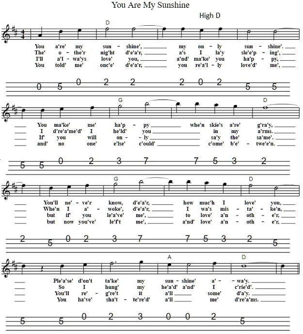 You Are My Sunshine Easy Sheet Music Tenor Banjo Tabs
