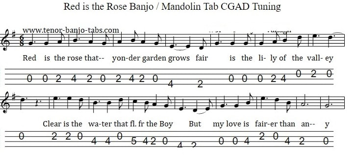 Banjo tuning CGAD for red is the rose song