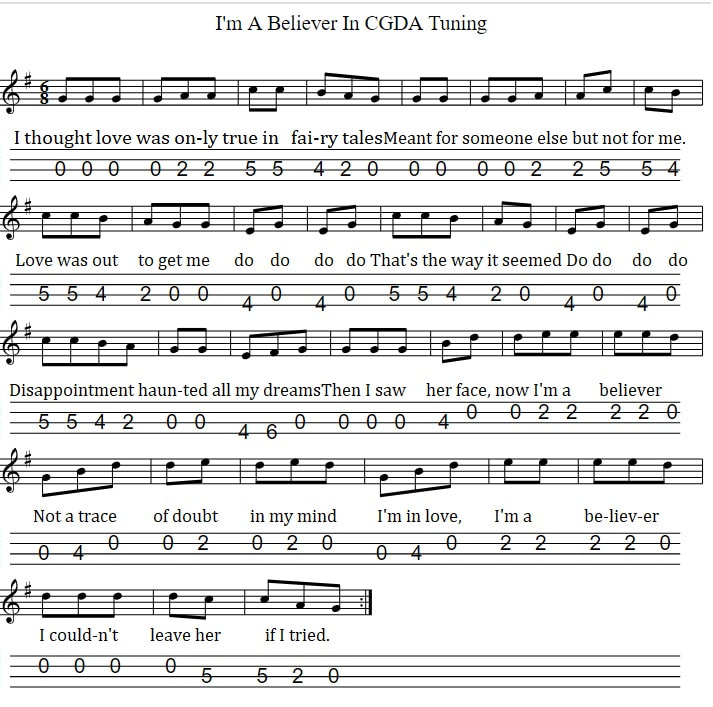 CGDA Tuning for I'm A Believer mandolin tab
