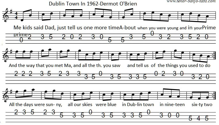 Dublin town in 1962 sheet music