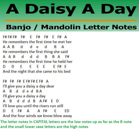 A daisy a day banjo / mandolin letter notes