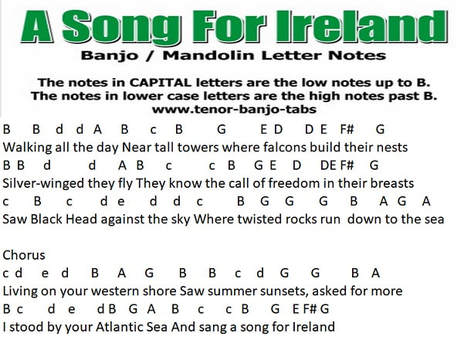 A song for Ireland banjo / mandolin letter notes