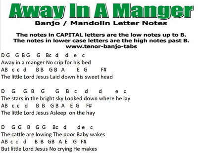 Away in a manger banjo letter notes