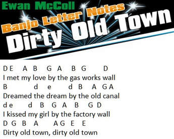 Banjo notes Dirty Old Town