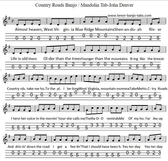 Country Roads Sheet Music Notes For Banjo And Mandolin - Tenor Banjo