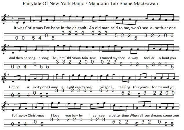 Fairytale of new york banjo / mandolin tab