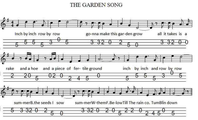 The garden song banjo / mandolin tab