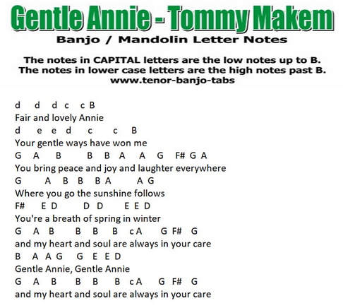 Gentle Annie Banjo Letter notes