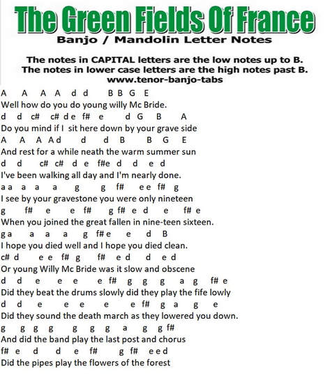 Green fields of France banjo letter notes