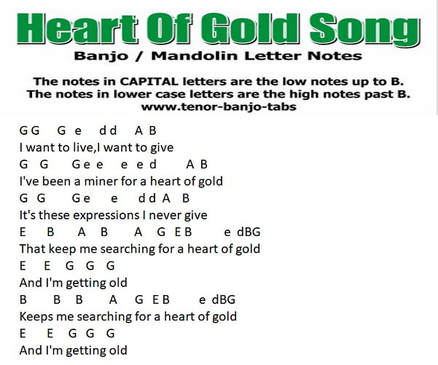 Heart of gold banjo letter notes