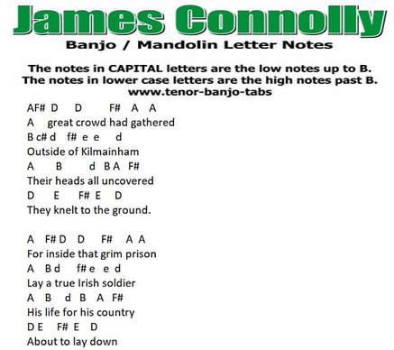 James Connolly banjo / mandolin letter notes