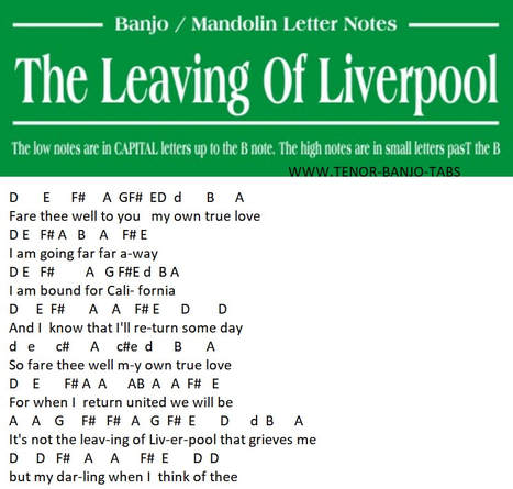 The leaving of Liverpool banjo mandolin letter notes