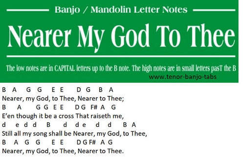 Nearer My God To Thee banjo letter notes