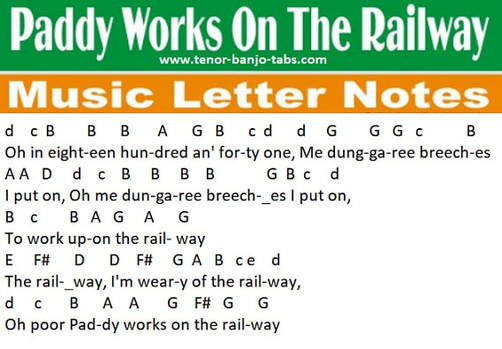 Paddy works on the railway music notes