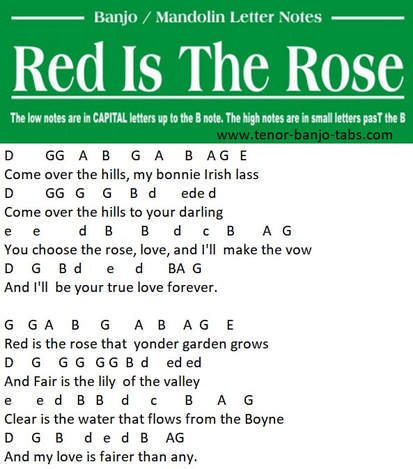 Red is the rose mandolin / banjo letter notes