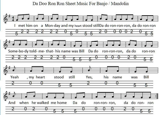 Da doo ron ron sheet music free for banjo