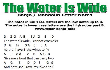 The water is wide banjo letter notes
