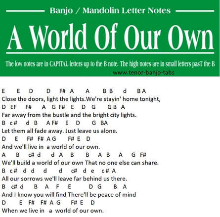 A World of our own banjo / mandolin letter notes