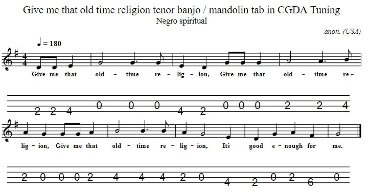 Give Me That Old Time Religion Mandolin Tab in tuning CGDA