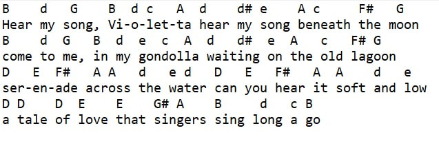 Hear my song Violetta music letter notes