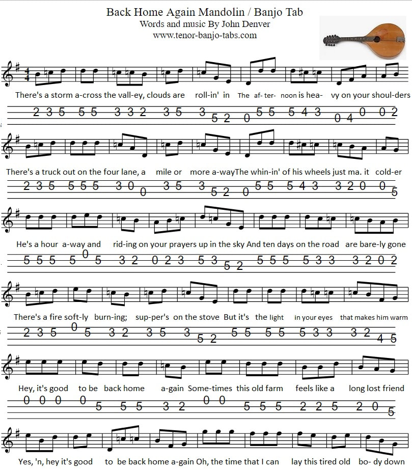 back home again banjo/mandolin sheet music