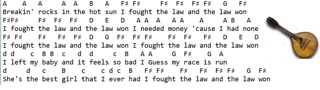 i fought the law music letter notes
