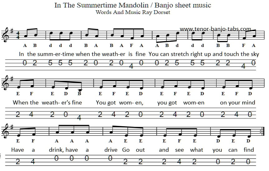 In the summertime sheet music for mandolin