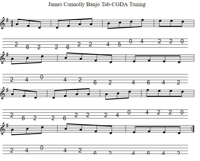 James Connolly Mandolin Tab in CGDA Tuning