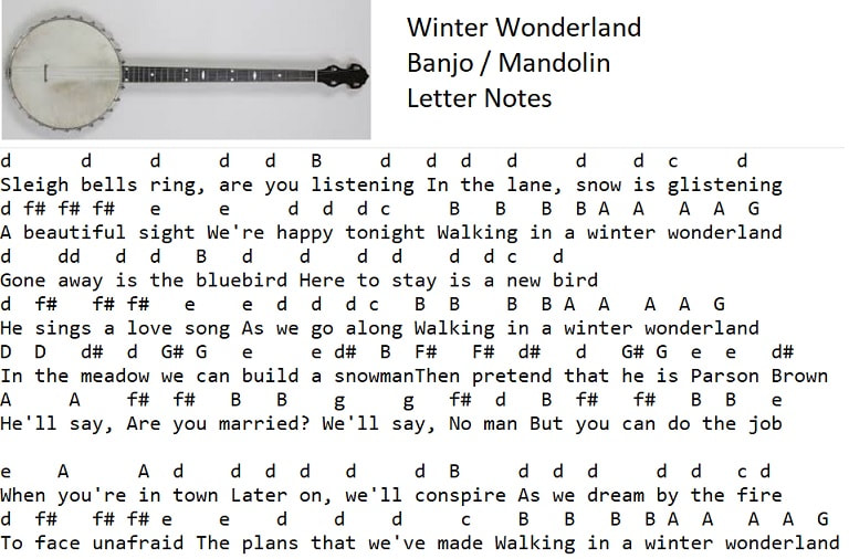 winter wonderland banjo / mandolin letter notes