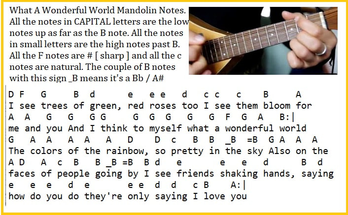 Mandolin letter notes for beginners what a wonderful world song