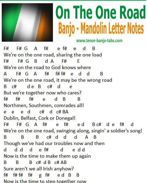 mandolin letter notes for we're on the one road